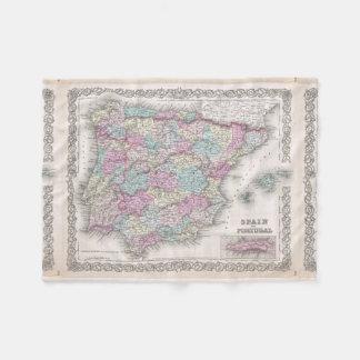 Vintage Map of Spain (1855) Fleece Blanket