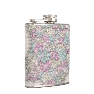 Vintage Map of Spain (1855) Hip Flask