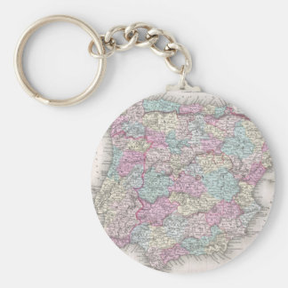 Vintage Map of Spain (1855) Basic Round Button Keychain