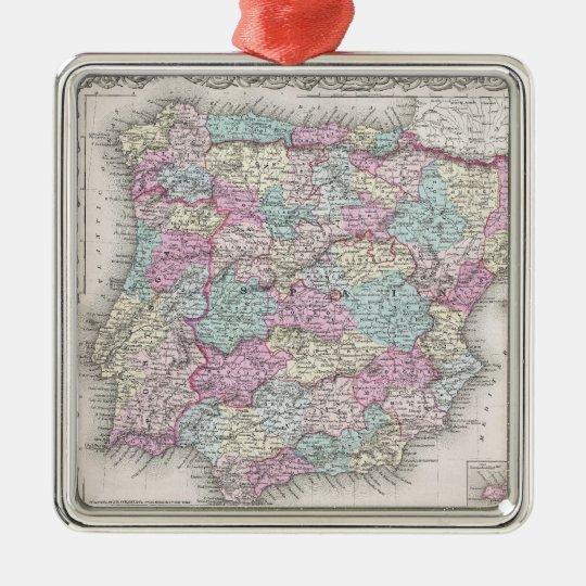 Vintage Map of Spain (1855) Metal Ornament