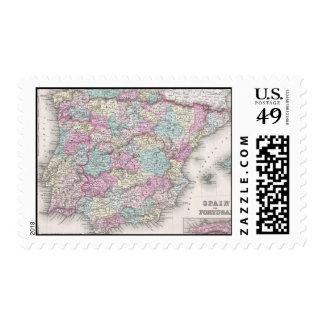 Vintage Map of Spain (1855) Postage Stamps