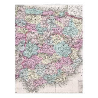 Vintage Map of Spain (1855) Postcard