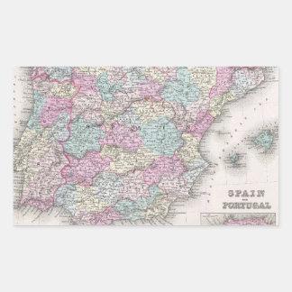 Vintage Map of Spain (1855) Rectangular Sticker