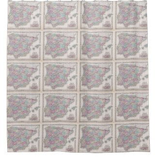 Vintage Map of Spain (1855) Shower Curtain