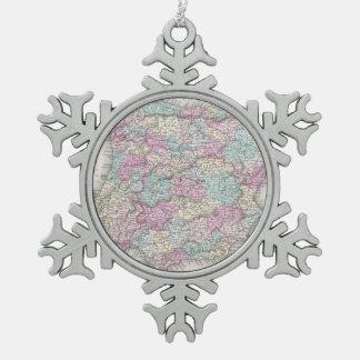 Vintage Map of Spain (1855) Snowflake Pewter Christmas Ornament