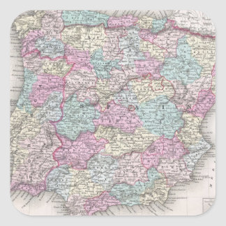 Vintage Map of Spain (1855) Square Sticker