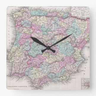 Vintage Map of Spain (1855) Square Wall Clock