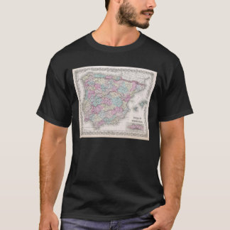 Vintage Map of Spain (1855) T-Shirt