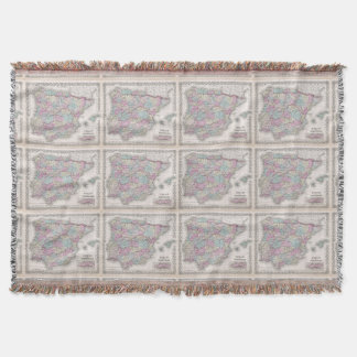Vintage Map of Spain (1855) Throw Blanket