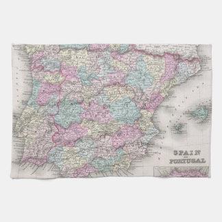 Vintage Map of Spain (1855) Towel