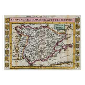 Vintage Map of Spain and Portugal (1747) Poster