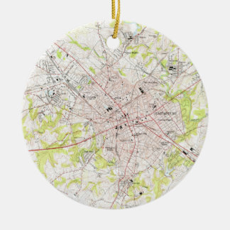 Vintage Map of Spartanburg South Carolina (1949) Ceramic Ornament