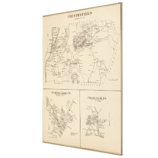 Vintage Map of Spofford and Chesterfield NH (1892) Canvas Print