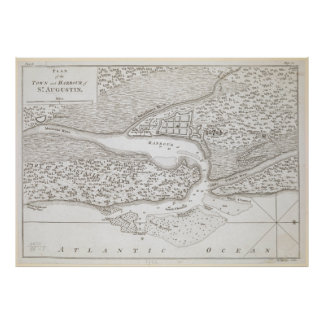Vintage Map of St. Augustine Florida (1763) Poster