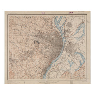 Vintage Map of St. Louis Missouri (1904) Poster