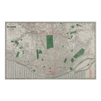 Vintage Map of St. Louis Missouri (1921) Poster