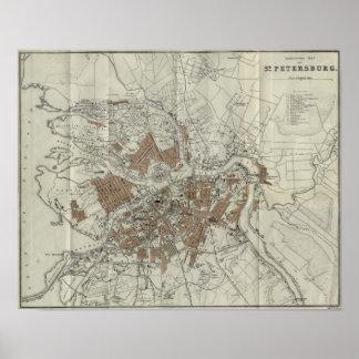 Vintage Map of St Petersburg (1893) Poster