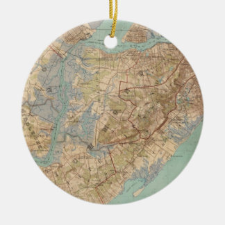 Vintage Map of Staten Island (1891) Ceramic Ornament
