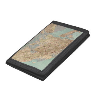Vintage Map of Staten Island (1891) Tri-fold Wallets