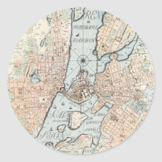 Vintage Map of Stockholm (1733) Classic Round Sticker