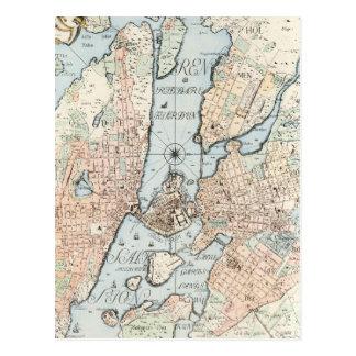 Vintage Map of Stockholm (1733) Postcard