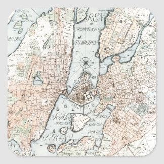 Vintage Map of Stockholm (1733) Square Sticker