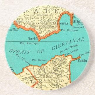 Vintage Map of STRAIT OF GIBRALTAR Coaster Beermat