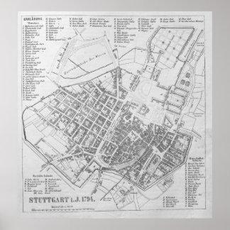 Vintage Map of Stuttgart Germany (1794) Poster