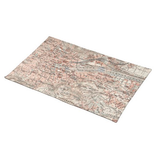 Vintage Map of Stuttgart Germany (1909) Placemat
