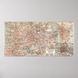 Vintage Map of Stuttgart Germany (1909) Poster