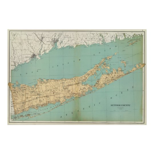 Suffolk County New York Map.Vintage Map Of Suffolk County Ny 1895 Poster Zazzle Com