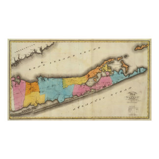Vintage Map of Suffolk New York (1829) Poster