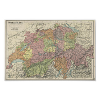 Vintage Map of Switzerland - 1920s Poster