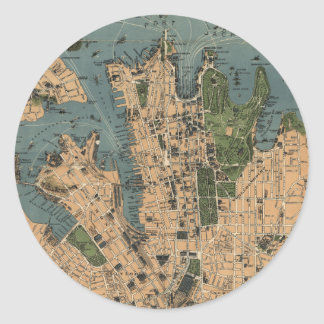 Vintage Map of Sydney Classic Round Sticker