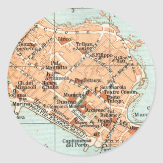 Vintage Map of Syracuse Italy (1905) Classic Round Sticker