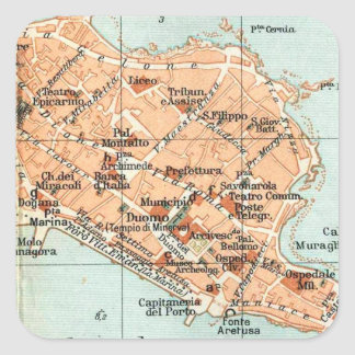 Vintage Map of Syracuse Italy (1905) Square Sticker
