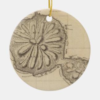 Vintage Map of Tahiti (1773) Ceramic Ornament
