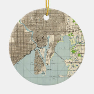 Vintage Map of Tampa Florida (1944) Ceramic Ornament