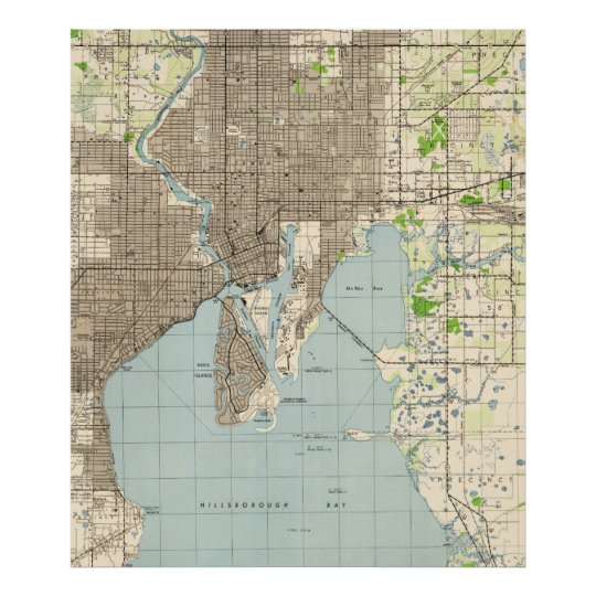 Map Of Tampa Florida Area.Vintage Map Of Tampa Florida 1944 Poster Zazzle Com