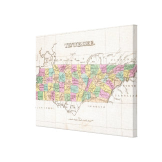 Vintage Map of Tennessee (1827) Canvas Print