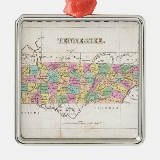 Vintage Map of Tennessee (1827) Metal Ornament