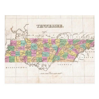 Vintage Map of Tennessee (1827) Post Cards