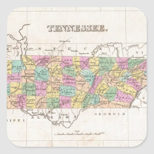Vintage Map of Tennessee (1827) Square Stickers