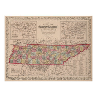 Vintage Map of Tennessee (1859) Poster