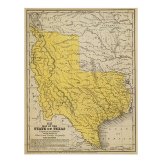 Vintage Map of Texas (1847) Poster