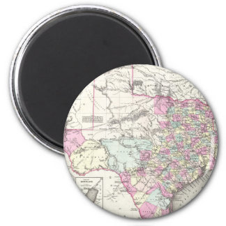 Vintage Map of Texas (1855) 2 Inch Round Magnet