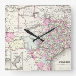 Vintage Map of Texas (1855) Square Wall Clock