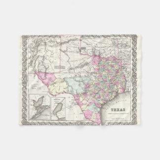 Vintage Map of Texas (1855) Fleece Blanket