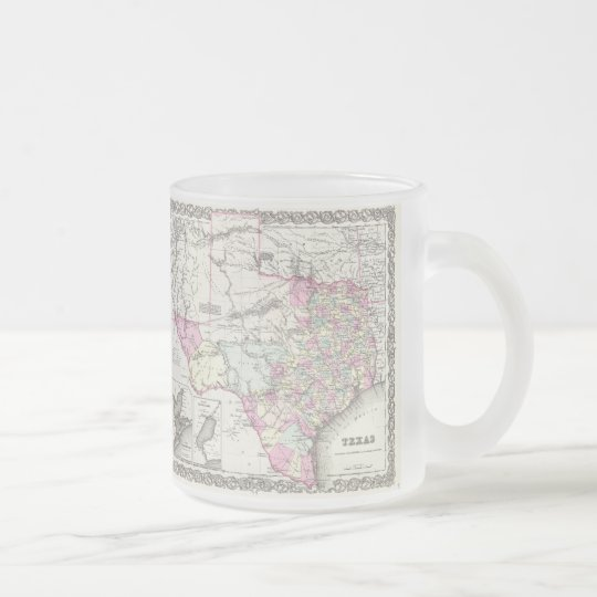 Vintage Map of Texas (1855) Frosted Glass Coffee Mug
