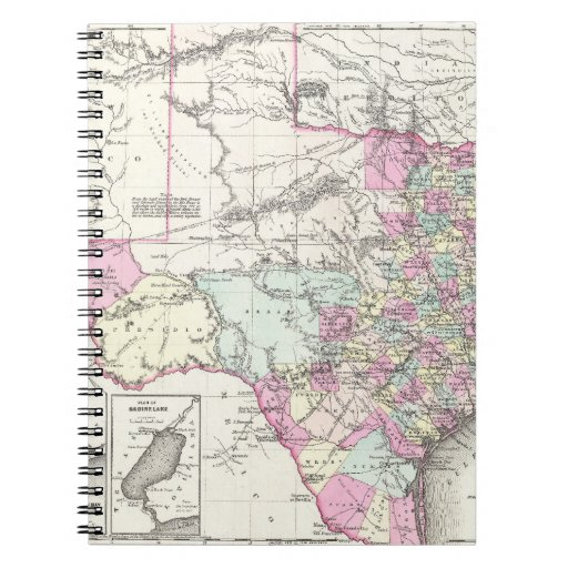 Vintage Map of Texas (1855) Notebook
